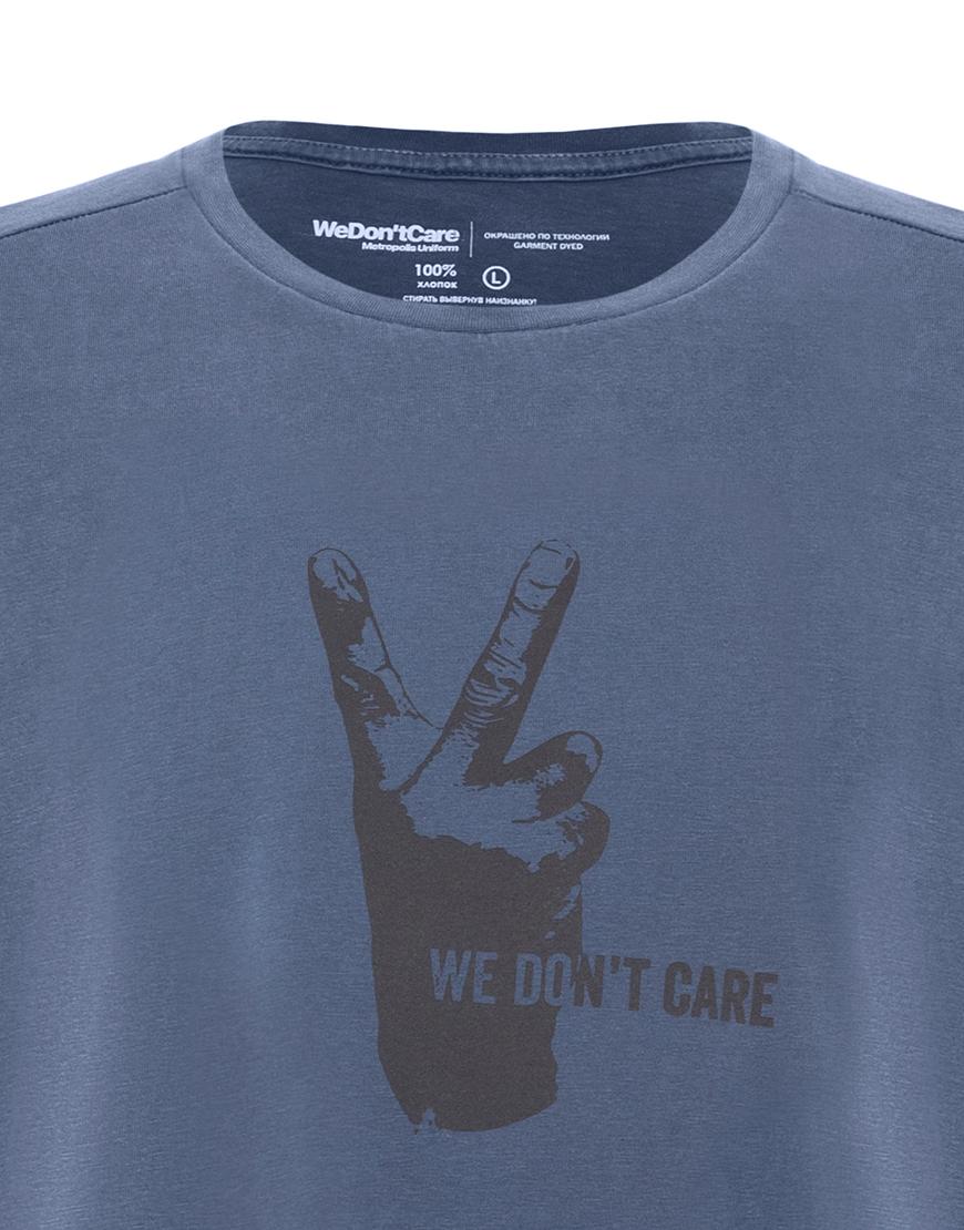 ФУТБОЛКА WE DON'T CARE GD V-Sign T-Shirt NAVY-BLUE